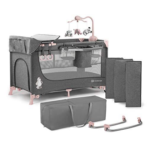 Kinderkraft Cuna de viaje JOY AC plegado y montaje fácil rápido compacto con accesorios Bolsa de transporte Juguetes Apertura lateral de 0 meses hasta 15 kg Normativa EN 716 color rosa