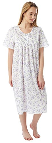 Mesdames Marlon Poly coton à manches courtes Chemise Nuisette MN12 Taille 10-30 Lilac Sprig