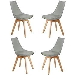 Ajie Pack de 4 sillas de comedor / oficina con las piernas de madera de haya maciza y asiento acolchado Para Comedor / Sala de estar / Café / Restaurante, gris