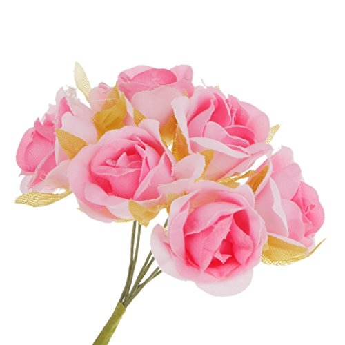 Magideal 60x artificial rosa per bouquet da sposa polso fiore corpetto matrimonio fai da te decorazione casa - rosa, 10 centimetri