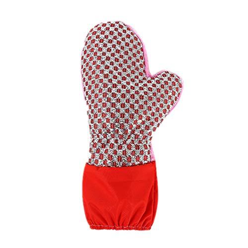 HAOLY Geschirrspülmittel topflappen,Dauerhaft Verlängert Verdickt Plus SAMT Wasserdicht Entfettet Hausarbeit Reinigung Handschuhe-Rot 30x15cm(12x6inch) (Geschirrspülmittel Handschuhe Rot)