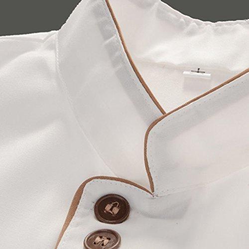F Fityle Weiß Langarm Kochjacke Bäckerjacke mit Knöpfe Gastronomie Arbeitskleidung Koch Küchen Uniformen Kochkleidung - Weiß, XXL - 4