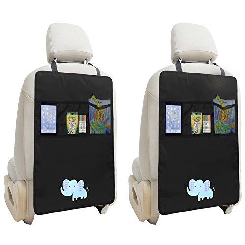 Preisvergleich Produktbild Zuoao 2 Stück Auto-Rückenlehnenschutz, Rückenlehnen Tasche Trittschutz mit Rücksitz-Organizer,Kinder Rücksitzschoner Kick-Matten-Schutz passend für die meisten den Autositz Schwarz,56.5 x 44cm Groß (Elefant)