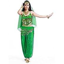 Seawhisper® Traje de Danza del Vientre Disfraz Halloween Carnaval Conjunto de Velo + Cadena de Cabeza + Top + Bufanda de Cadera + Pantalones