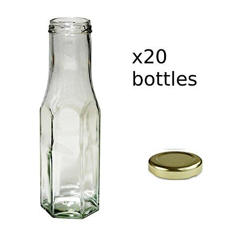 20x 250ml klar Sechskant Sauce Flaschen mit Gold Schraube Gap -