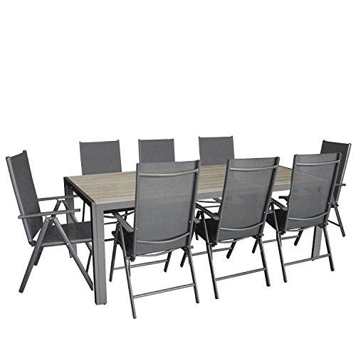 9tlg. Gartengarnitur, Aluminium Gartentisch mit Polywood-Tischplatte Grau 205x90cm + 8x Aluminium-Hochlehner mit Textilenbespannung, 7-fach verstellbar, klappbar, anthrazit / Sitzgruppe Sitzgarnitur Gartenmöbel Terrassenmöbel