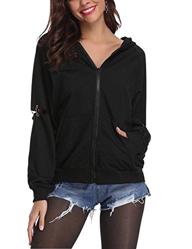 Einblick Zip (Abollria Kapuzenjacke Damen Zip Hoodie Casual Sweatjacke mit Seitentaschen Metallringe am Ärmeln)