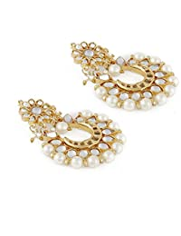 Aradhya Stylish Traditional Pearl Kundan Chandbalis Earrings For Women & Girls