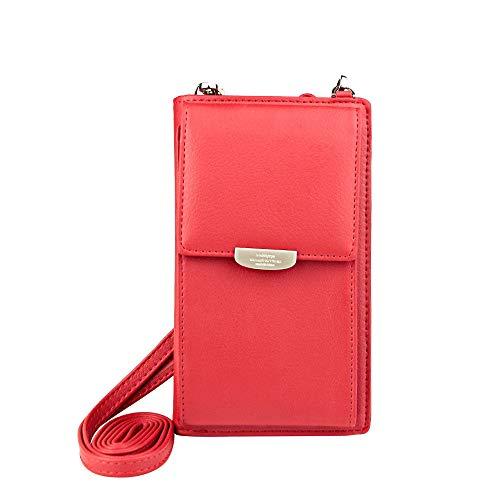 UEEBAI Frauen Brieftasche Mädchen Umhängetasche Kartenhalter Schöne Mini-Handtasche für Mobiltelefon Kreditkarten Reißverschluss Weiches PU-Leder Exquisite Nähte Abnehmbarer Schultergurt - Rot