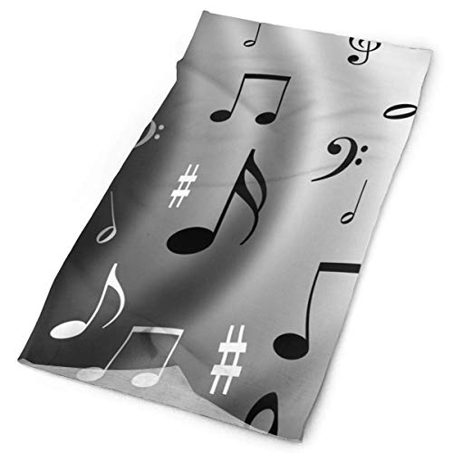 Black White Musical Note Headband Unisex Headwrap Magic Head Scarf Bandana Headwear Neckerchief Microfiber Do Rag Cap Design Headdress Scrunchie Face Mask Neck Gaiter Band-do-rag