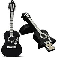 Longra Guitarra USB 2.0 Metal Flash Memory Stick de almacenamiento de pulgar U disco, 4 GB, 8 GB, 16 GB, 32 GB (32GB, Negro)