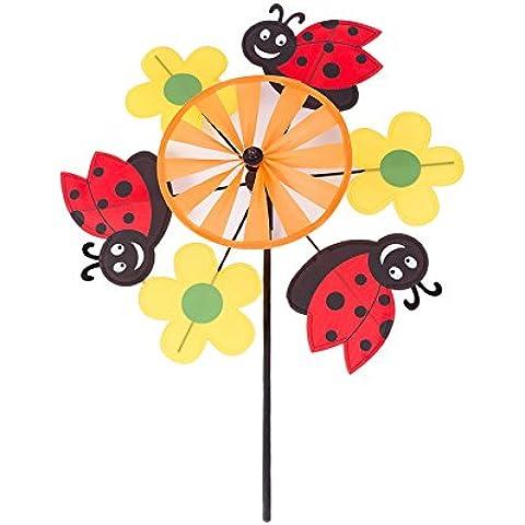 Mulino a vento giardino Coccinelle e Fiori Girandola, Kit per tutte le età - Pandora Fiore Charm
