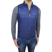 New Brams Collection Giubbotto smanicato uomo primavera estate slim fit blu bomberino gilet con cerniera