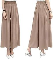 Fashring Women's Long Pant Elastic Waist Ruffle Hem Pleated Loose Summer Youga Legging P