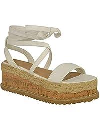 Fashion Thirsty Mujer Corcho Forma Plana Alpargatas Sandalias De Cuña Tobillo Zapatos con Cordones Talla