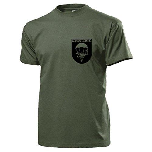 FschJgBtl 263 Brust Fallschirmjägerbataillon 263 Bundeswehr Wappen Abzeichen Tropenshirt Uniform Fallschirmjäger Sie fallen von Himmel und kämpfen Transall- T Shirt Herren oliv #18188 (Deutschland Militär-uniform)
