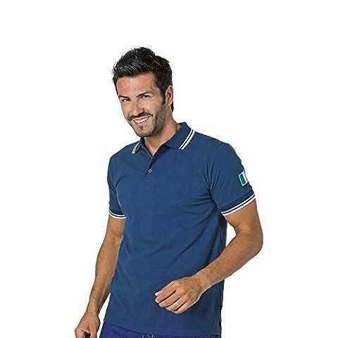 Logique Summer1Polo Coton Bleu Bords Blanc col V boutons tricot