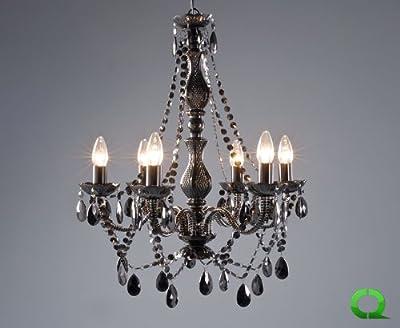Eleganter majestätischer Kronleuchter CRISTALLO 6er Schwarz von QUBO-DESIGN