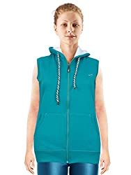 NGT Sleeveless Sea Green Color Hooded Sweatshirt For Women in High Quality.