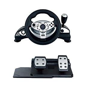 WRISCG Racing Spiel-Lenkrad USB mit Bremspedal und Ganghebel für PC / PS3 / PS2 Unterstützung PC Win9x/ME/2000/XP/Vista32/Vista64/WIN7/WIN8/WIN10 D-Input/X-Input Compatible with STEAM Steering Wheel