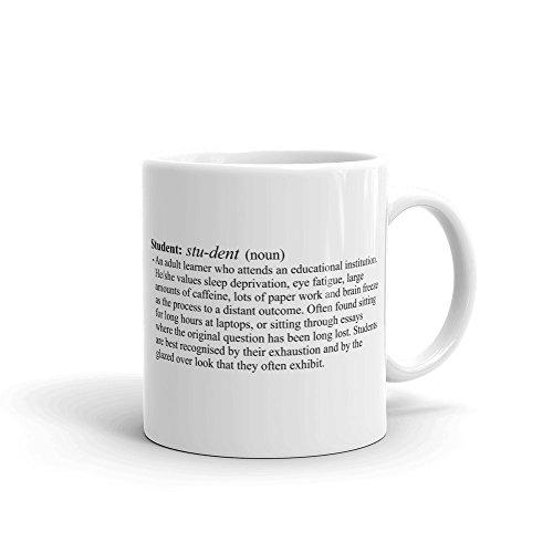 Estudiante definición taza de cerámica, de color blanco 11oz