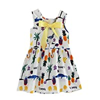 EULLA Girl Sleeveless Floral Dress Cotton Casual Above Knee Summer for Age Baby 2-7 Years