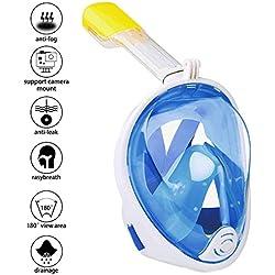 Masque de Plongée, Masque Snorkeling Plein Visage 180° Visible Snorkel Masque avec la Support pour Caméra de Sport, Anti-Fuite Anti-Buée Adapté pour Adulte et Enfant (Bleu S/M)