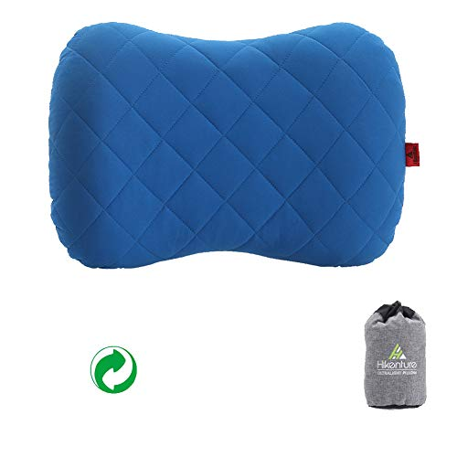 Hikenture Aufblasbares Camping/Reise Kissen mit Abziehbarem Kissenbezug, Ergonomisches Kopfkissen, Komfortables Nackenkissen für Reise/Outdoor, Inflatable Travel Neck Pillow(Blau)