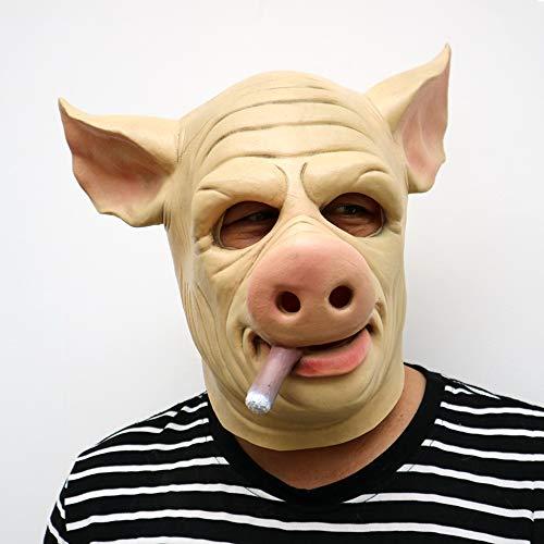 ekopf Halloween Cosplay Tiermaske Pink Pig Head PET Schweinekopf Maske 4 Typen Optional,D ()