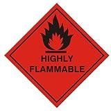 Warnzeichen - Aufkleber hochentzündlich (Diamant) 100 x 100 mm