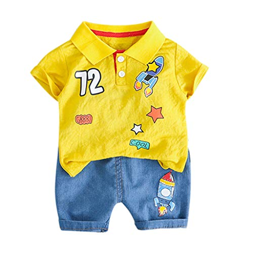 feiXIANG 2 Stück Bekleidungsset Top Shorts Hose Outfits Jungen Drucken T-Shirt Casual Baby Kinder Kinderkleidung (A/Gelb,70)