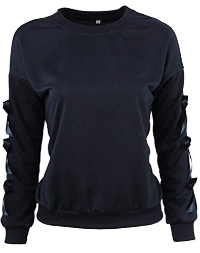 Sweatshirt Damen Mode Elegante Langarm Rundhals Bowknot Bow Perfect Sleeve Winter Thick Warm T Shirt Oberteil Top Style (Color : Dunkelblau, Size : L)