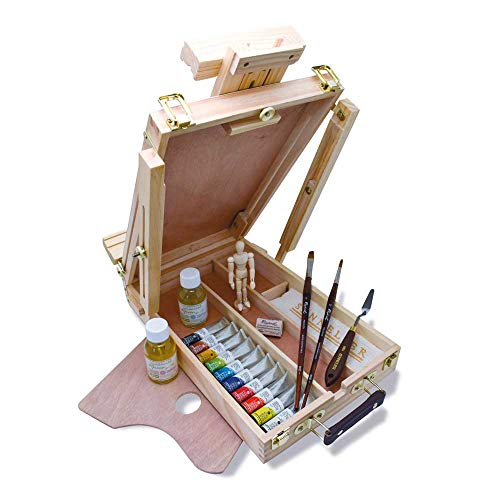 Rive Gauche Wood Easel Box Set by Sennelier, Includes 10-21ml Tubes of Oil Color, 4.75 Inch Mannequin, Palette Knife, 100ml Thinner, 100ml Liquid Medium (10-130329-00)