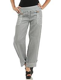 3ea398e6e8 ZARMEXX Pantalones de Lino de Las Mujeres Ocasionales Pantalones de Verano  Pantalones Largos de Deslizamiento