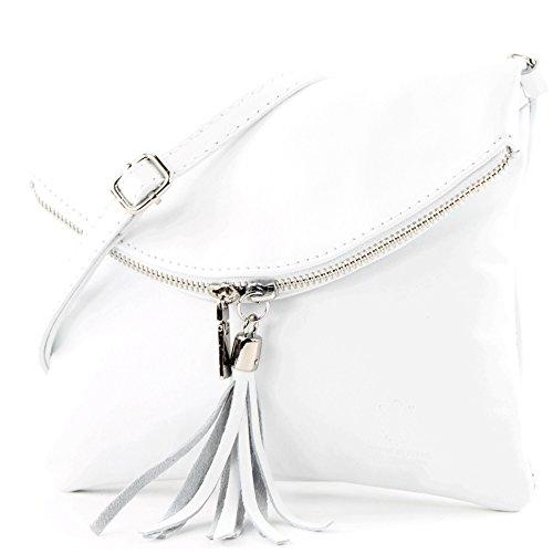borsa di pelle ital. pochette pochette borsa tracolla Ragazze T139 piccola pelletteria T139 Weiß
