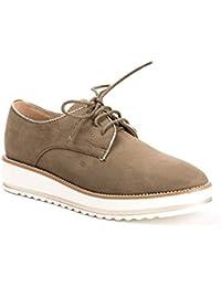 Ideal Shoes - Derbies effet daim Acalia