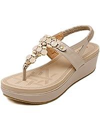 aa31dded Ruiren Sandalias de Cuña de Beep Bohemio de Las Mujeres, Zapatos de Las  Chancletas de la Playa del Verano para Las…
