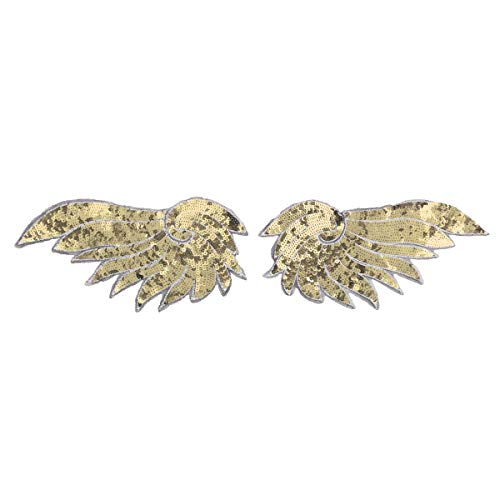 dPois Pailletten Engel Flügel Aufnäher Spitze Stickerei Patches Sticker Bügeln Applikation Engel Flügel für T-Shirt Jeans Kleidung DIY Patches Aufkleber Gold Violett Gold One Size (Weiß Und Gold Engel Kostüm)