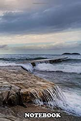 """Notebook: View Of Huge Sea Wave Breaking On The Rocky Shore And R , Journal for Writing, College Ruled Size 6"""" x 9"""", 110 Pages"""