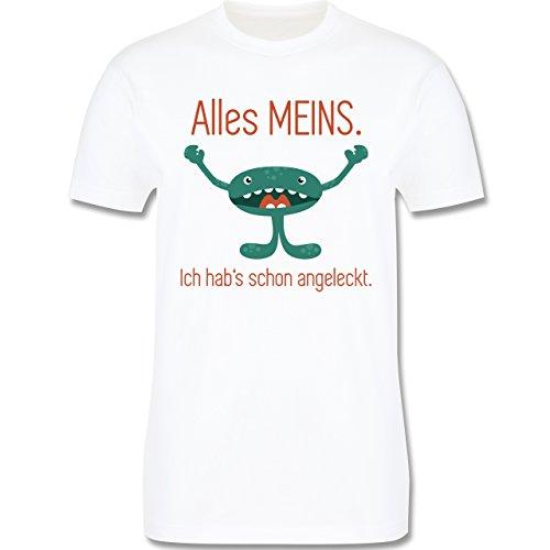 Sprüche - Kleines Monster - Alles Meins! Ich hab's schon angeleckt - Herren Premium T-Shirt Weiß