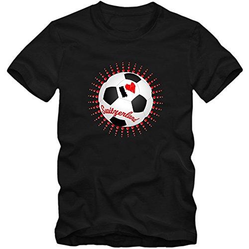 Schweiz EM 2016 #6 T-Shirt   Fußball   Herren   Trikot   Schweizer pati   Nationalmannschaft © Shirt Happenz Schwarz (Deep Black L190)