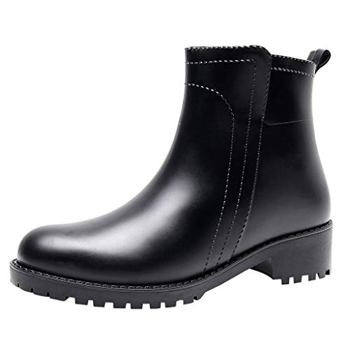 MOTOCO Women Original Chelsea Waterproof Rubber Festival Winter Snow Rain Welly Boots Ankle Booties