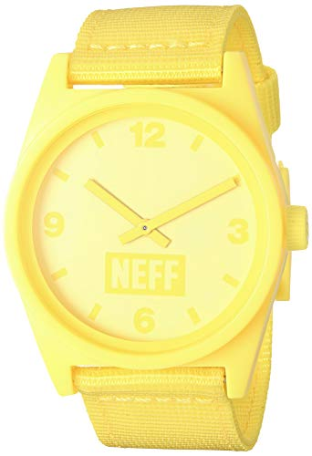 neff Unisex-Adults Daily Analog Watch with Silicone Band, Yellow/Tennis/Woven, One Size