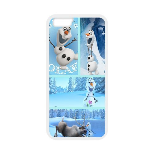 "Disney Frozen, Elsa, Anna, Olaf Étui en silicone TPU Coque de protection pour iPhone 6 (4,7 ""inch) Étui avec Screen Protector, Mobile Phone Case Back Cover Blanc Noir for iPhone 6 6S (4"
