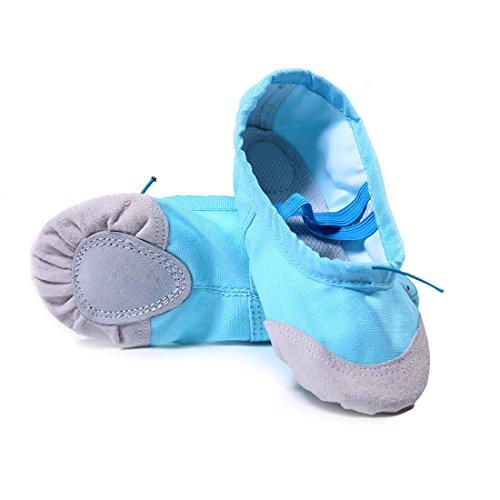 DoGeek Gute Qualität Ballettschuhe weich Spitzenschuhe Ballet Trainings Schläppchen Schuhe für Mädchen/Damen in den Größen 22-40 (26 EU, Blau)