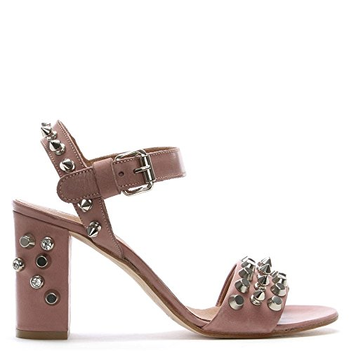 Daniel Studsand Pink Leather Block Heel Sandals Pink Leather