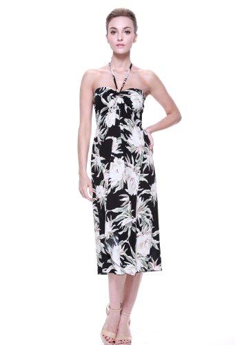 Robe de mariée hawaïenne pour femme en Nénuphar Noir Waterlily Indigo