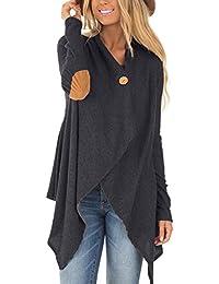 LANISEN Damen Langarm Einfarbig Asymmetrisch Strickjacke Sweatjacke Pullover S-XL