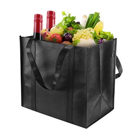 DYD Wiederverwendbare Einkaufstaschen (6er-Pack, Schwarz) - Halten Sie 44+ lbs - Große und robuste, robuste Einkaufstaschen - Einkaufstüte mit Griffen, Dicke Kunststoffunterlage ...