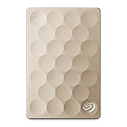 Seagate Backup Plus Ultra Slim 1TB Portable Drive (Gold) with Free Seagate Rescue - 2 Year Data Recovery Plan